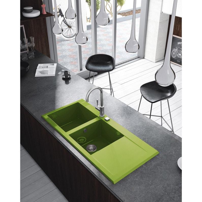 Evier A Encastrer Quartz Et Resine Vert Poalgi 2 Bacs Avec