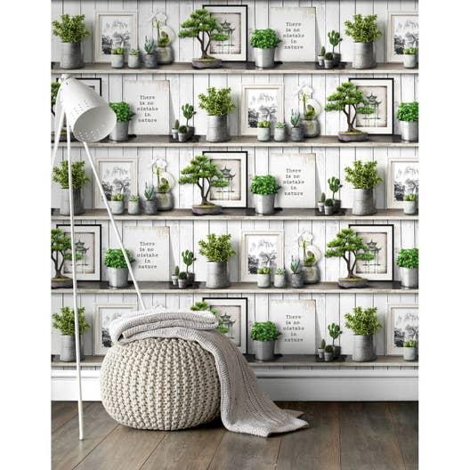 papier peint vinyle vert et beige leroy merlin. Black Bedroom Furniture Sets. Home Design Ideas
