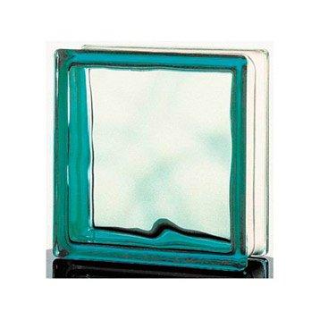 Brique de verre Vitrablock/Standard ondulée brillante, verte