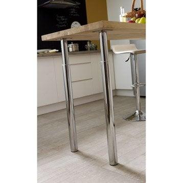 Pied de plan de travail cylindrique réglable métal chromé gris, de 70 à 110 cm