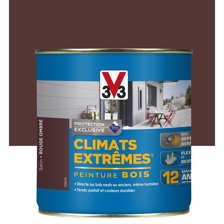 peinture bois ext rieur climats extr mes v33 rouge ombr 0 5 l leroy merlin. Black Bedroom Furniture Sets. Home Design Ideas