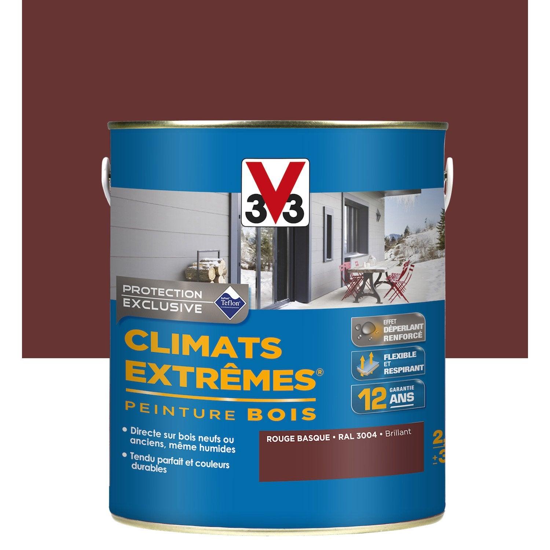 supérieur Peinture bois extérieur Climats extrêmes V33, rouge basque, 2.5 l