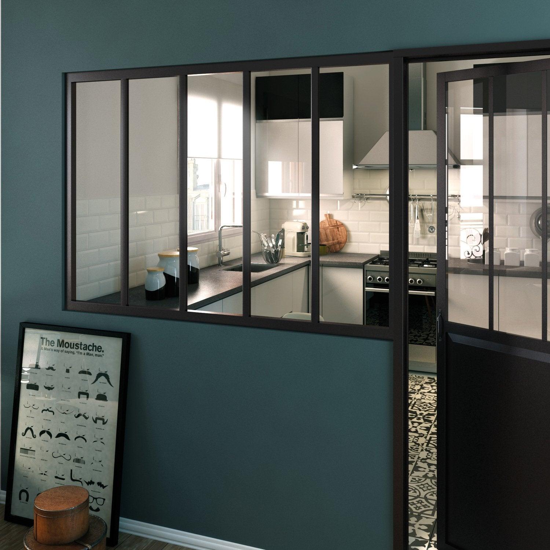 Style industriel pour une porte coulissante en bois et alu leroy merlin - Porte vitree pour salle de bain ...