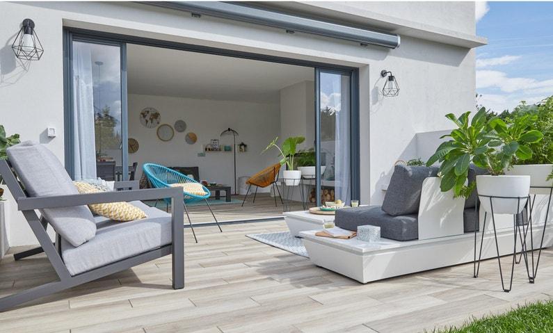 Salon bas de jardin Keros aluminium noir, 4 personnes | Leroy Merlin