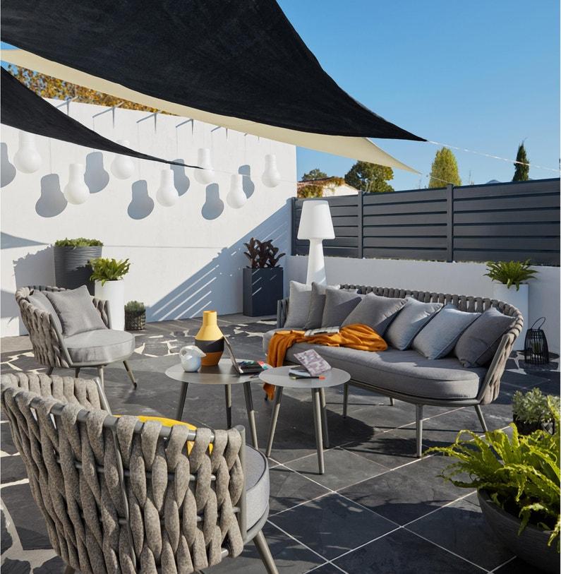 Salon bas de jardin Rinia aluminium noir, 5 personnes