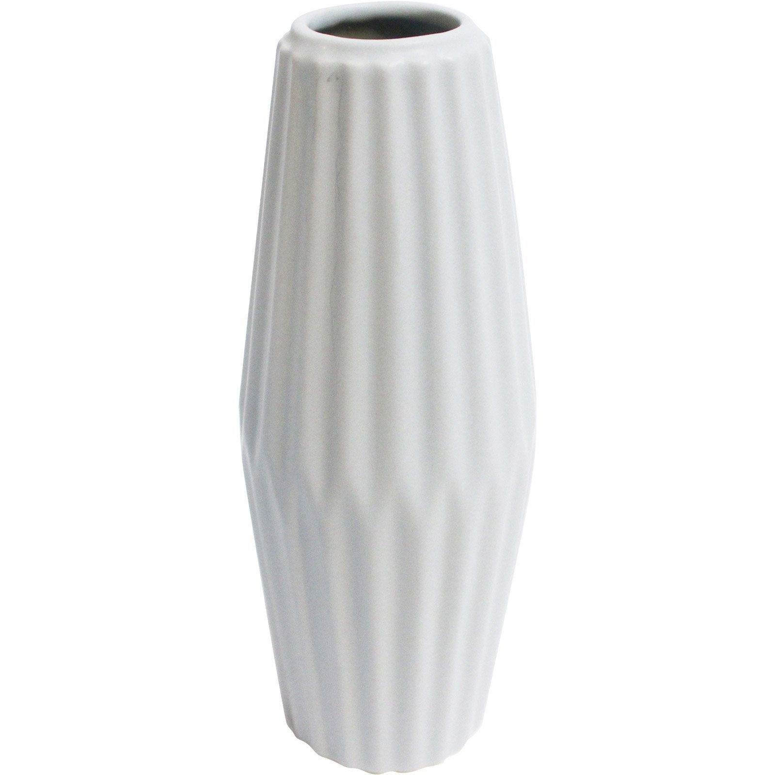 Vase décoratif céramique Strié blanc l.8 x H.21 cm