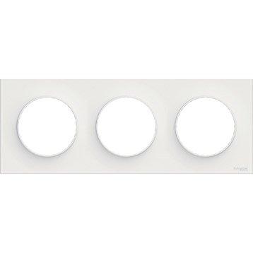 Plaque triple Odace, SCHNEIDER ELECTRIC blanc