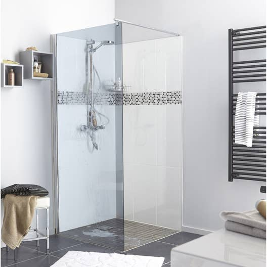 paroi de douche l 39 italienne cm verre fum 6 mm open 2 leroy merlin. Black Bedroom Furniture Sets. Home Design Ideas