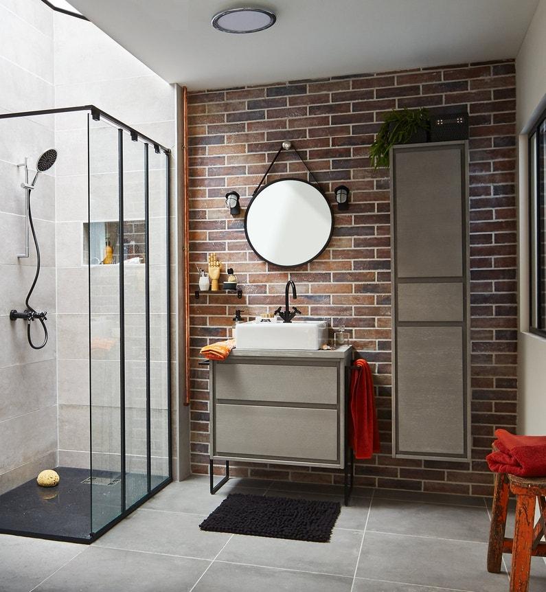 Une salle de bains au style vintage industriel leroy merlin for Salle bain industriel