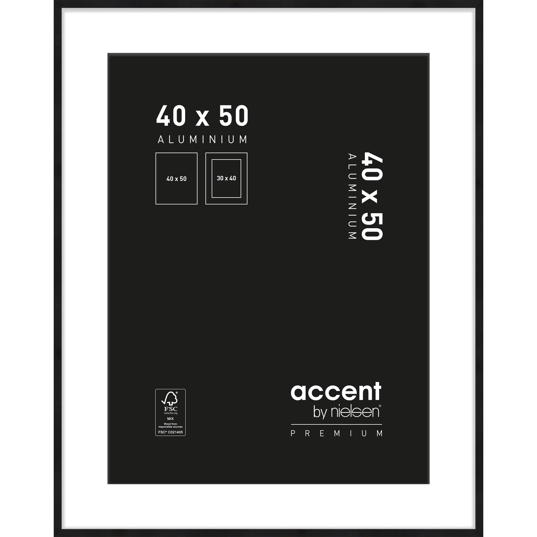 Cadre Accent premium, l.40 x H.50 cm, aluminium noir