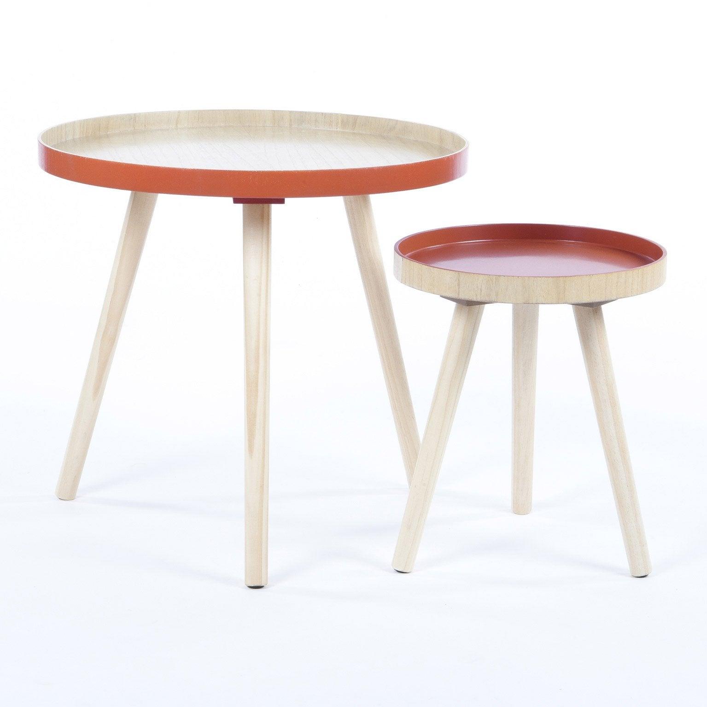 Set de 2 tables gigognes Gustav, naturel et terracotta, D 48 cm et D 30 cm