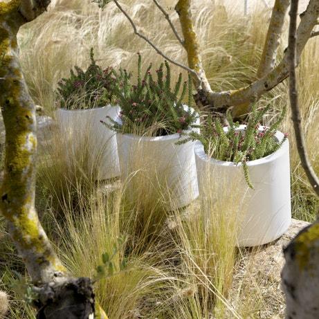 Trois pots extérieurs blancs pour les plantes