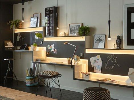 15 id es pour am nager un espace bureau leroy merlin. Black Bedroom Furniture Sets. Home Design Ideas