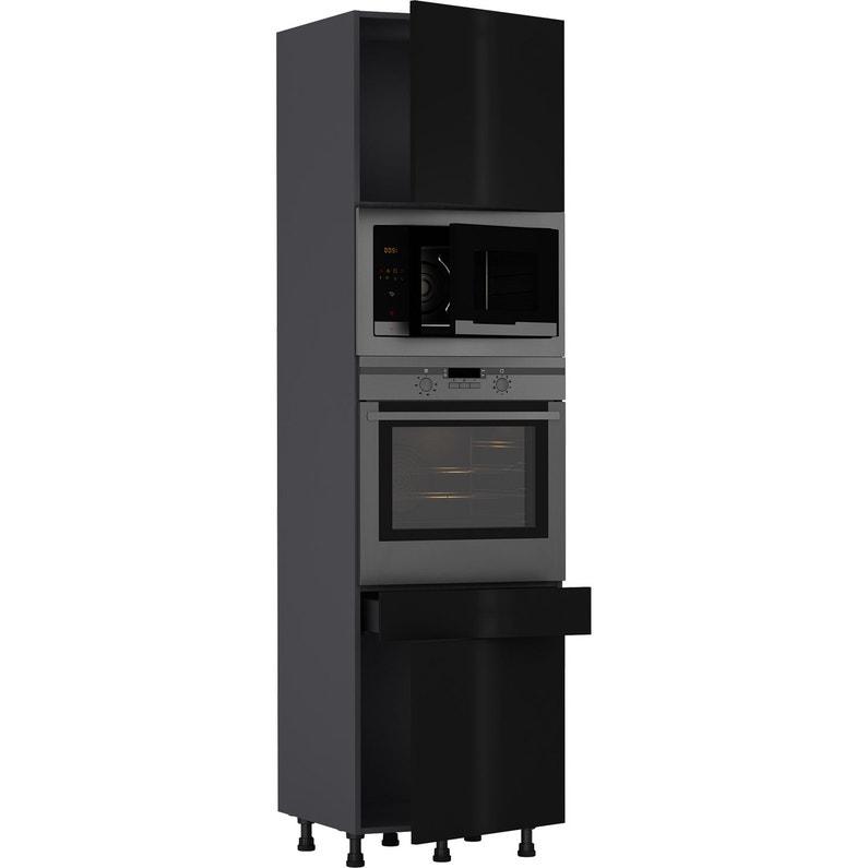 Colonne de cuisine Sevilla noir, 2 portes et 1 tiroir H215xl60 | Leroy Merlin