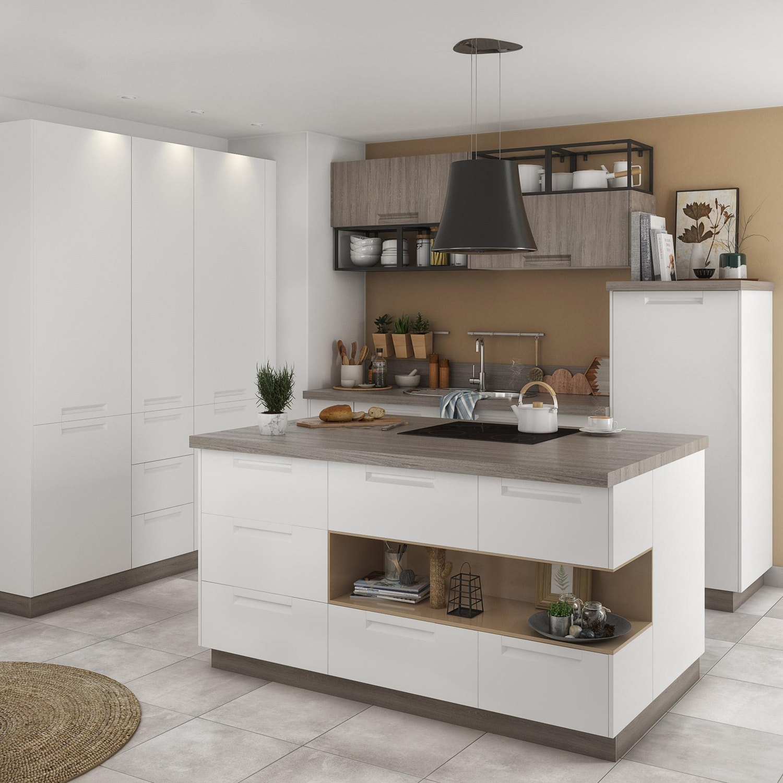 meuble de cuisine evora blanc delinia id leroy merlin. Black Bedroom Furniture Sets. Home Design Ideas
