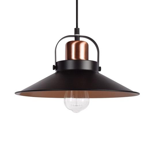 suspension m tal noir et cuivre seynave mirano 1 lumi re s. Black Bedroom Furniture Sets. Home Design Ideas