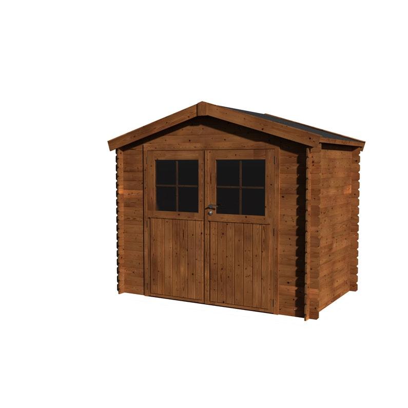 Abri de jardin bois NATERIAL Kipo évolution + traité autoclave Ep.19 mm,  3.73 m²