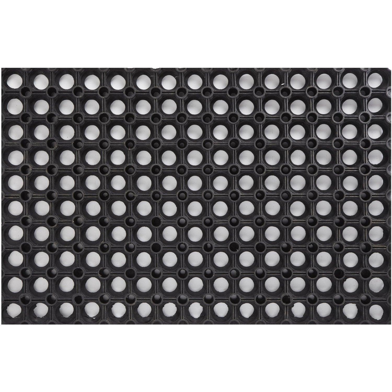 Paillasson caoutchouc noir x cm ring rubber for Essuie pieds exterieur