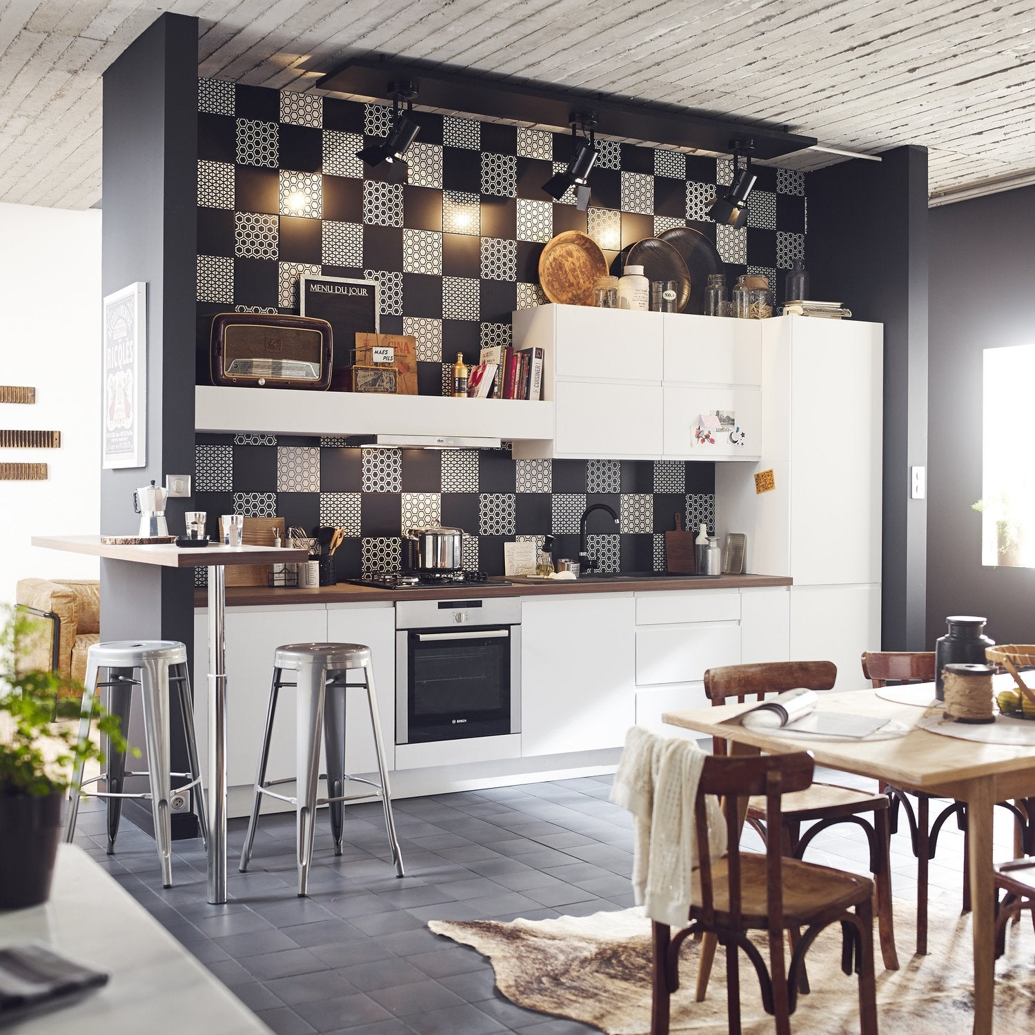 Credence Cuisine Noir Et Blanc #14: Exceptionnel Credence Cuisine Noir Et Blanc #11: Vintage Bilbao Peel And  Stick Smart Tiles. Especially Designed For Kitchen And Bathroom  Environments, ...