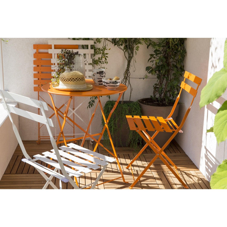 Salon de jardin flore orange 2 personnes leroy merlin for Salon de jardin deux personnes