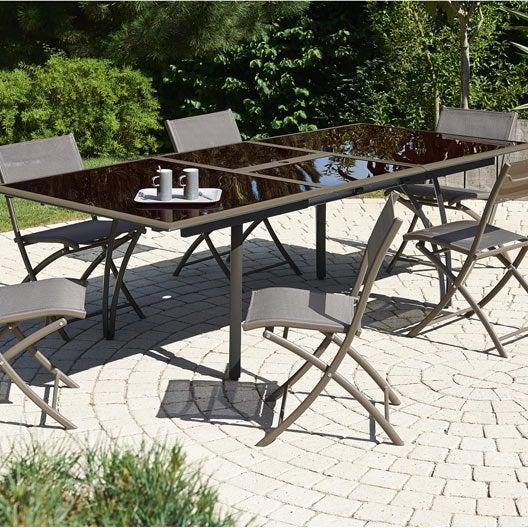 Salon de jardin cappucino brun marron 6 personnes leroy - Guide leroy merlin jardin et terrasse tourcoing ...