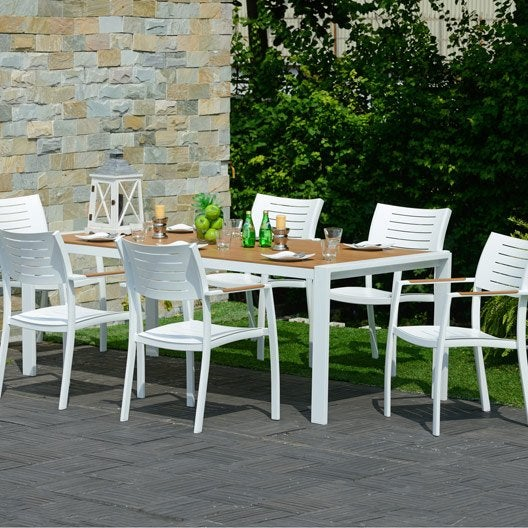 Salon de jardin port nelson brun marron 6 personnes for Salon de jardin 6 personnes