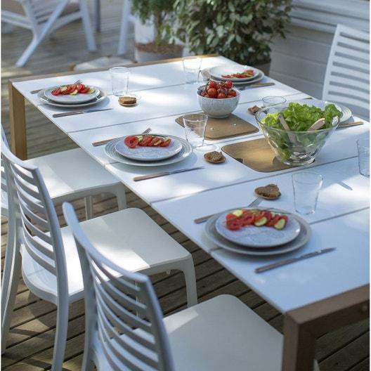 Salon de jardin Sunday GROSFILLEX blanc, 4 personnes   Leroy Merlin