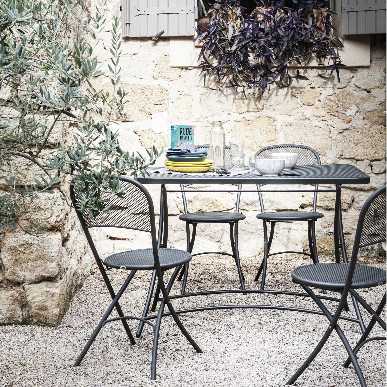 salon de jardin voila emu gris anthracite 4 personnes leroy merlin. Black Bedroom Furniture Sets. Home Design Ideas
