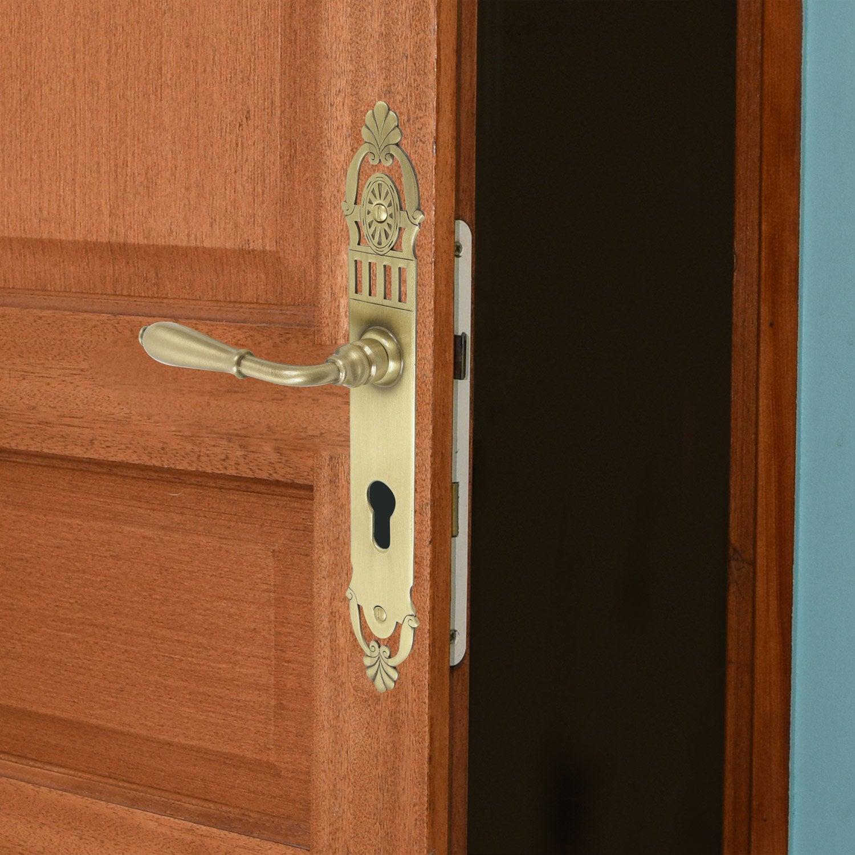 poign e de porte mansart trou de cylindre laiton patin. Black Bedroom Furniture Sets. Home Design Ideas