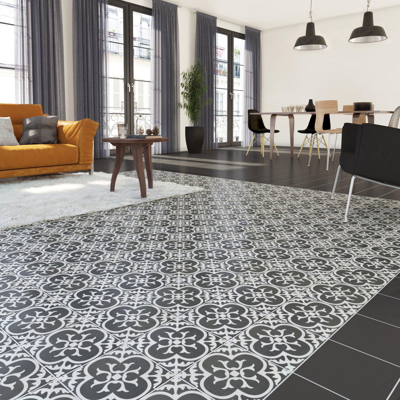 les carreaux de ciment au sol mix s avec un carrelage fonc leroy merlin. Black Bedroom Furniture Sets. Home Design Ideas