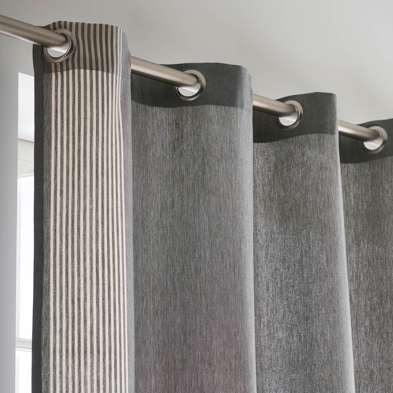 Rideau tamisant, Yobi, gris/naturel, l.140 x H.260 cm INSPIRE
