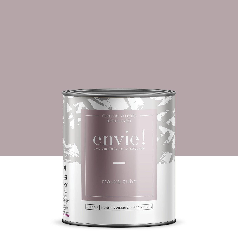 Peinture dépolluante mur, boiserie, radiateur ENVIE mauve aurore velours 0.5 l