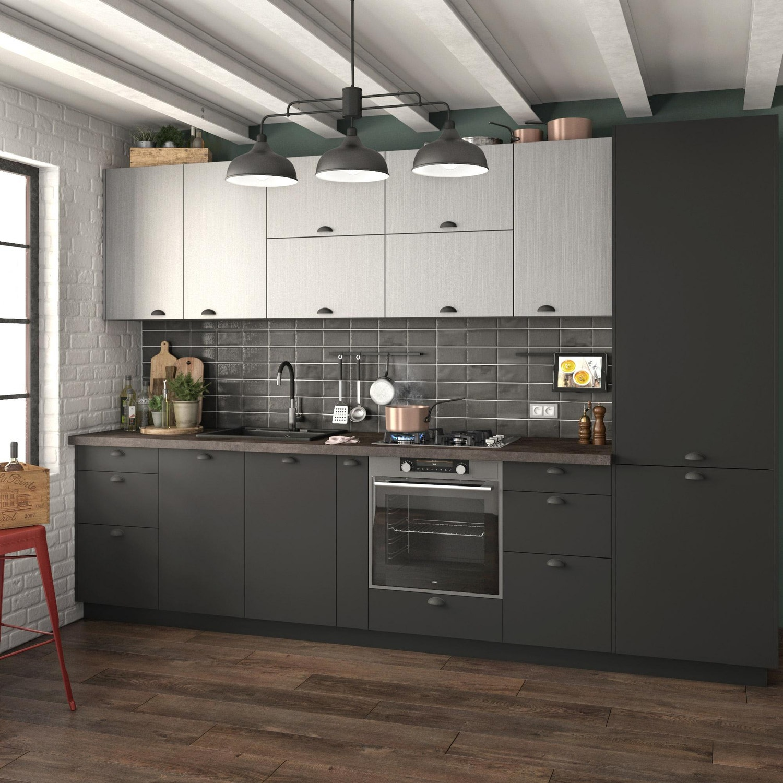 Meuble de cuisine detroit gris delinia id leroy merlin - Meuble cuisine etroit ...