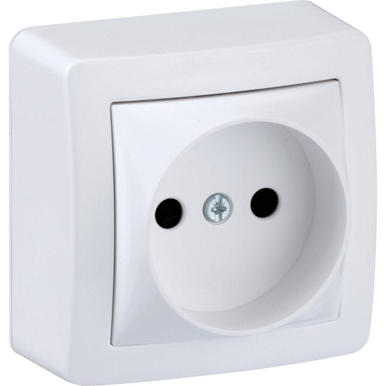 Prise Sans Terre Saillie Alréa Schneider Electric Blanc