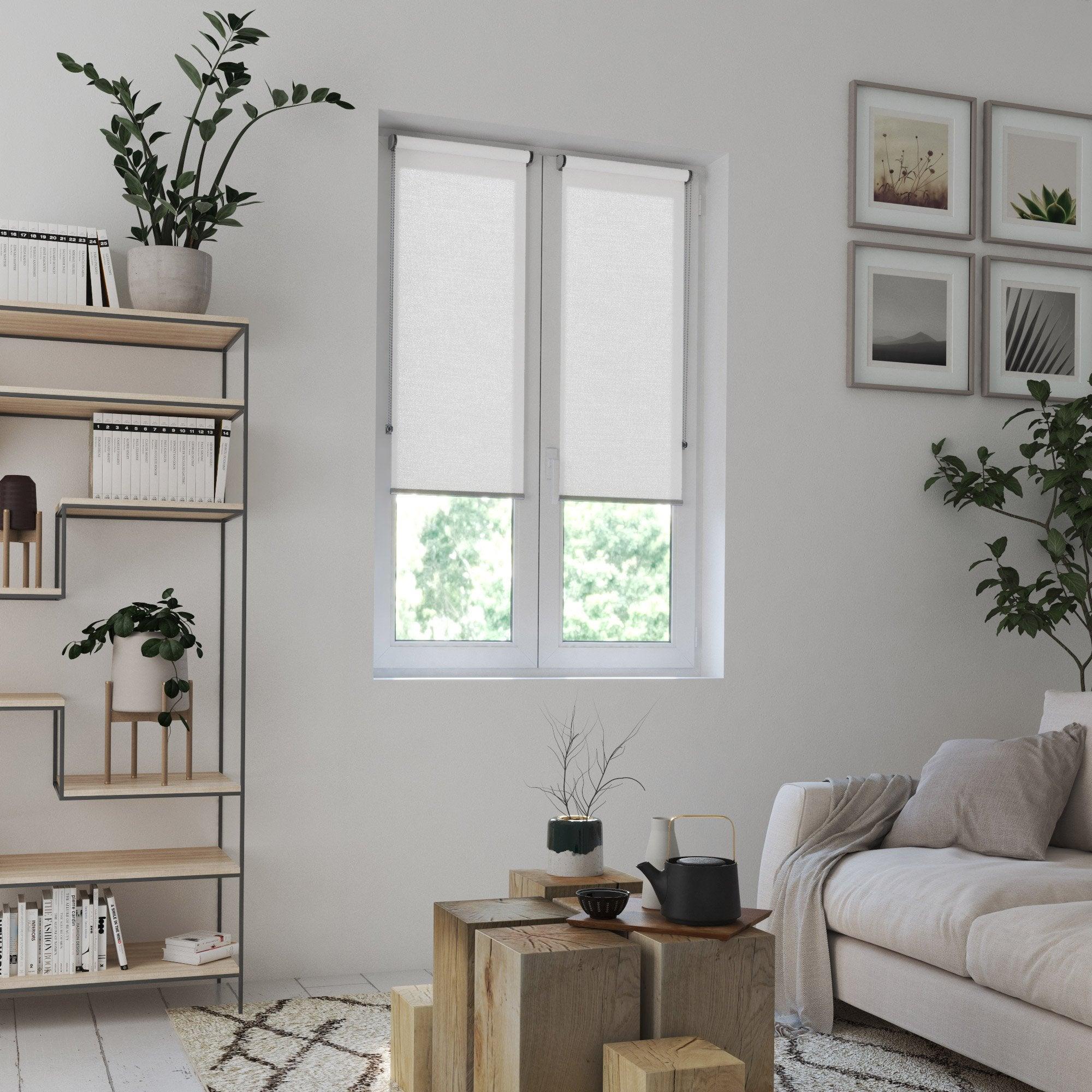 Store enrouleur tamisant, blanc Madrid, l.45 x H.160 cm