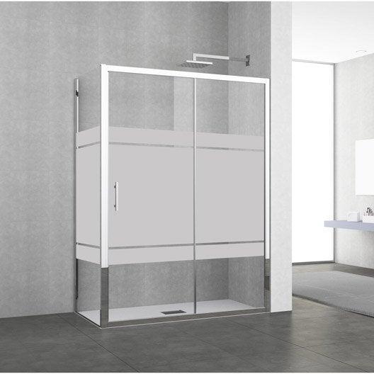 Porte de douche coulissante 140 146 cm profil chrom elyt 2 pnx leroy merlin - Porte coulissante douche 140 ...