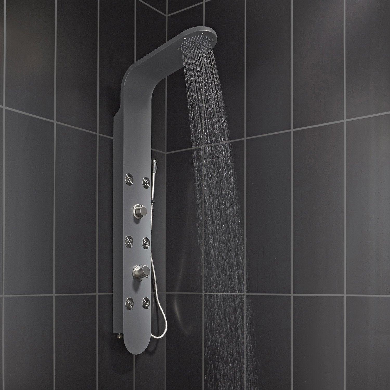 colonne de douche hydromassante avec robinetterie gris bali leroy merlin. Black Bedroom Furniture Sets. Home Design Ideas