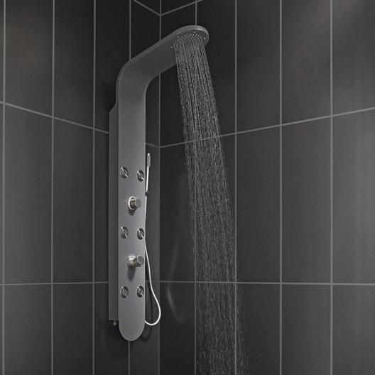 colonne de douche hydromassante sensea cubiko aluminium