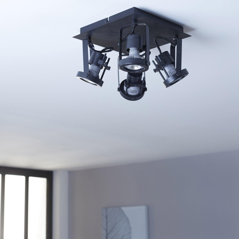Plafonnier 4 spots, industriel, métal noir, INSPIRE Technic
