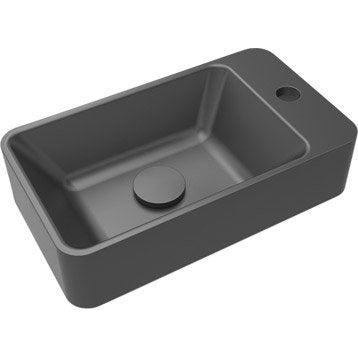 Lave-mains résine rectangle noir l.40 x P.23 cm, Smart