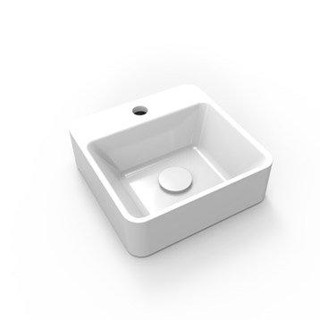 Lave-mains résine carré blanc l.30 x P.30 cm, Smart