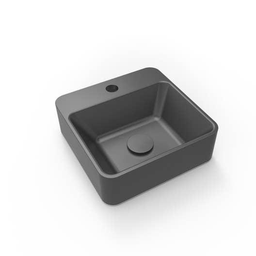 Lave-mains résine carré noir l.30 x P.30 cm, Smart | Leroy Merlin