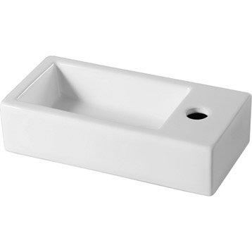 Lave-mains céramique rectangle blanc l.36.5 x P.17.5 cm, Rabat