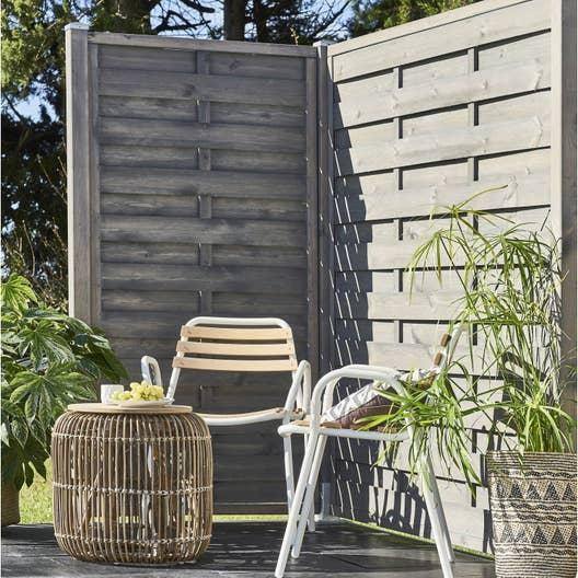 panneau bois occultant city x cm gris clair leroy merlin. Black Bedroom Furniture Sets. Home Design Ideas