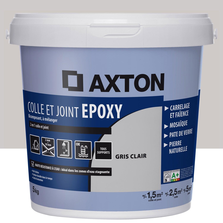 Colle et joint époxy AXTON, mur et sol, gris clair, 2m², 5KG | Leroy Merlin