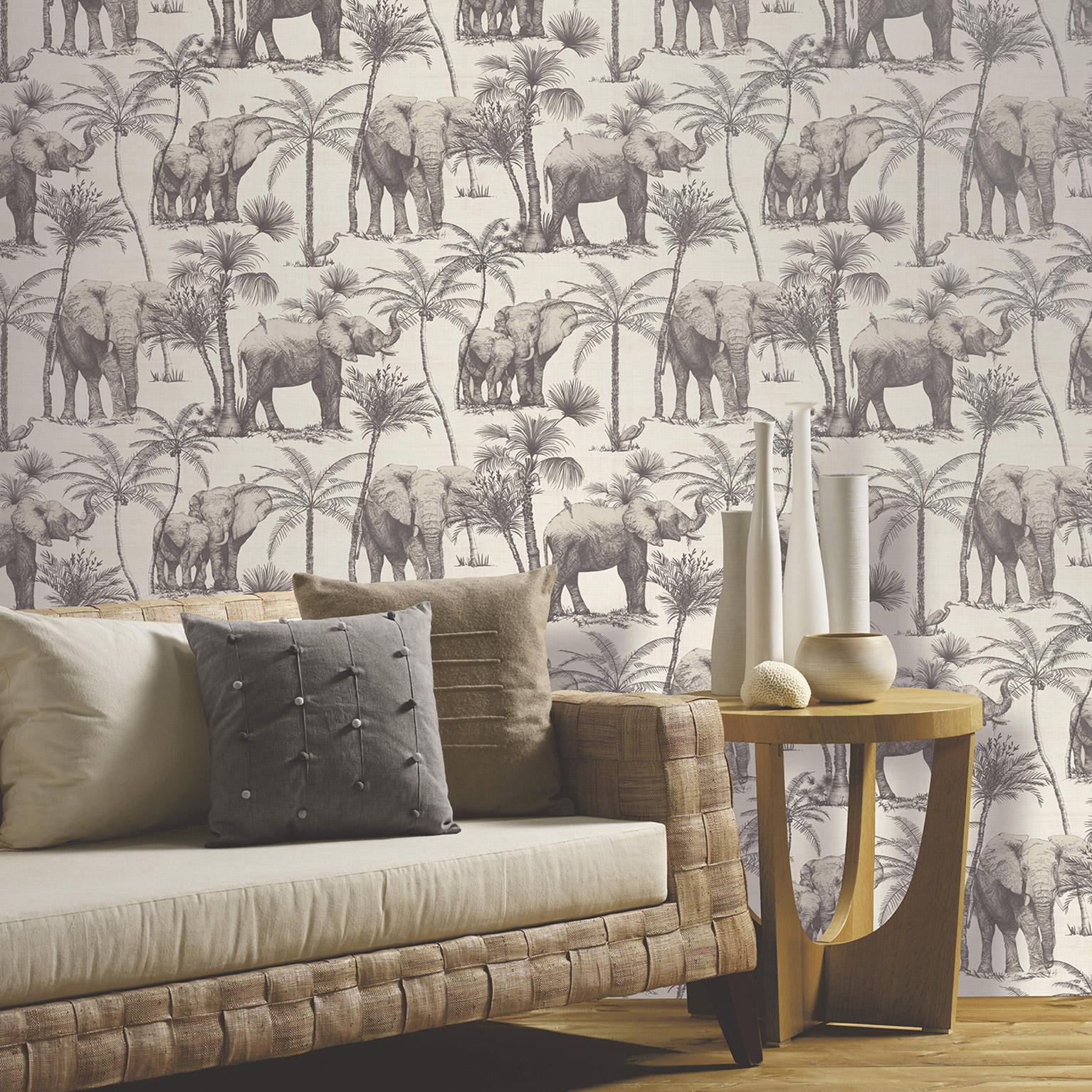 Papier peint intissé VOYAGE éléphant grove grège