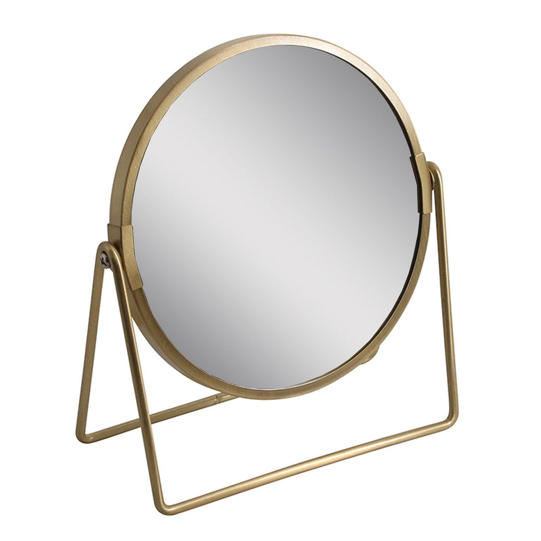 Miroir grossissant x 2 rond à poser, H.16 x l.16 x P.8.5 cm, Joy dore