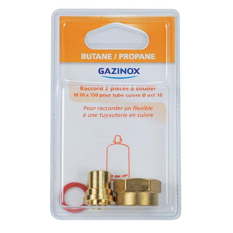Raccord 2 Pièces Pour Gaz Butane Propane à Souder Mâle X Diam10 Mm Gazinox