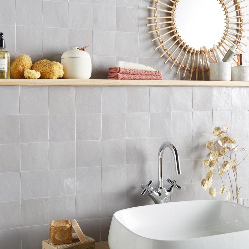Zellige mur uni gris clair brillante l.10 x L.10 cm, Zellige