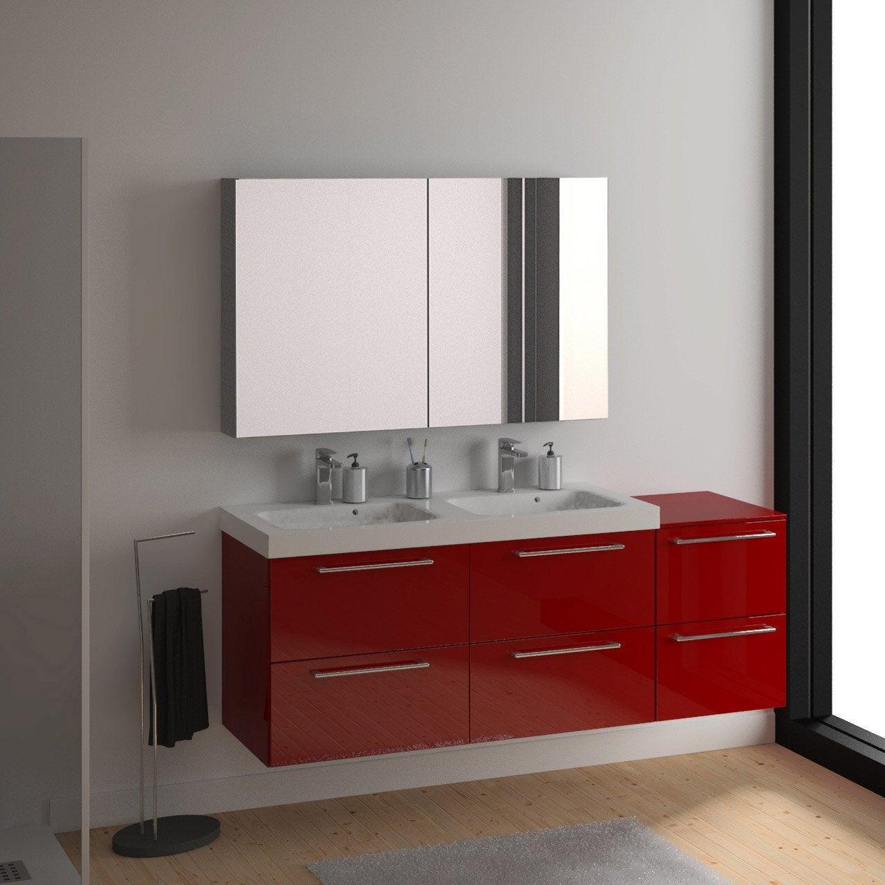 Meuble vasque 121 cm rouge remix leroy merlin - Meuble salle de bain remix ...